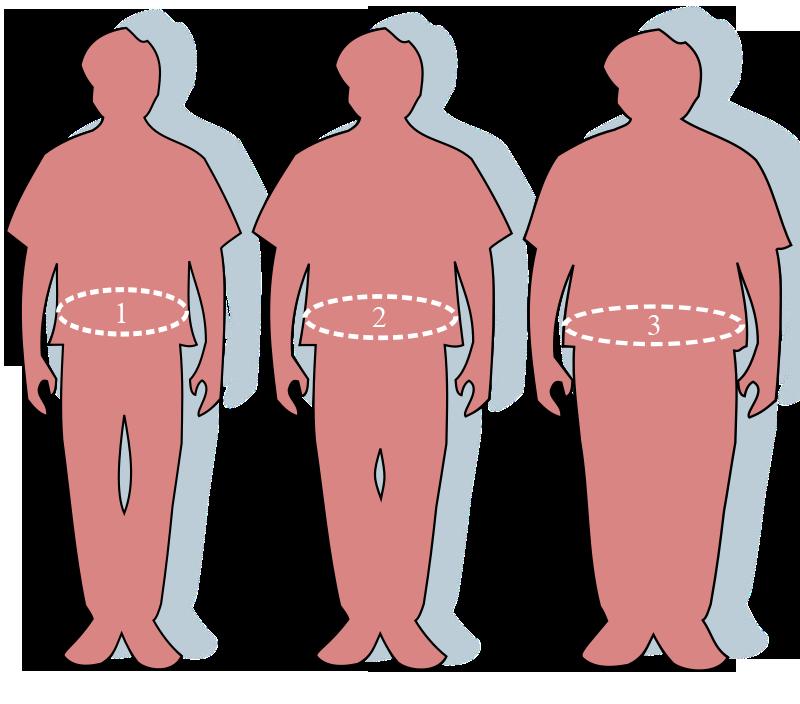 Силуэты людей - Нормальнаямасса тела - 1 Избыточнаямасса тела - 2 Ожирение - 3 - Как избавиться от лишнего веса